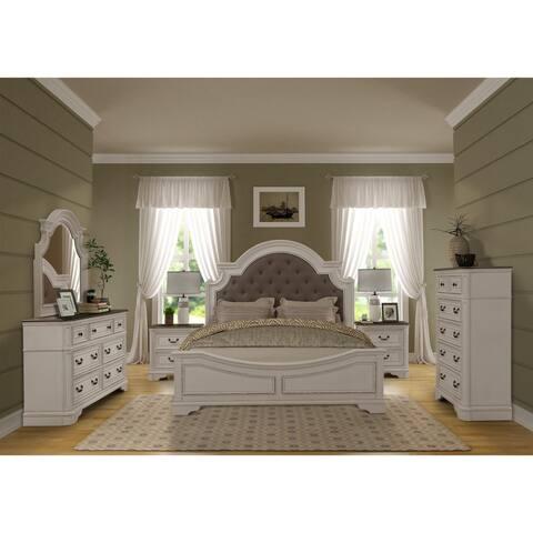 Laval Antique 6-Piece White and Oak Wood Bedroom Set