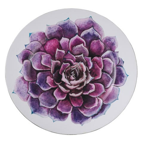 Saro Lifestyle Purple Floral Table Chargers with Succulent Flower Design (Set of 4)