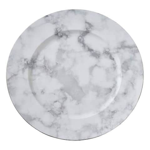 Saro Lifestyle Grey Plastic Marble-pattern Table Chargers (Set of 4)