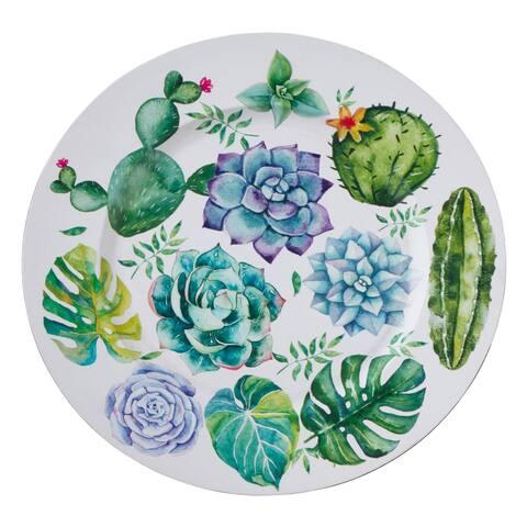 Saro Lifestyle Multicolor Plastic Succulent Plants Charger Plates (Set of 4)