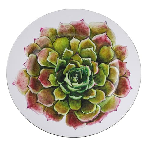 Saro Lifestyle Plastic Two-Tone Succulent Flower Dinner Plate Chargers (Set of 4)