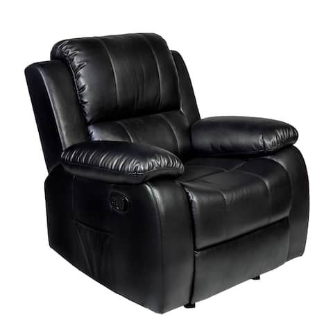 Clarkson Black Faux-leather Massage Lumbar Recliner