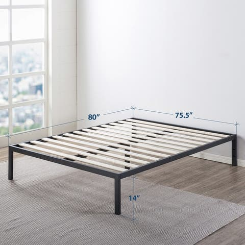 14 Inch Heavy Duty Metal Platform Bed/Wooden Slat Support/Mattress Foundation (No Box Spring Needed, Black) - Crown Comfort