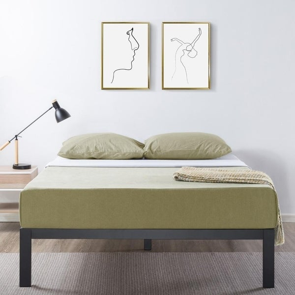 14 inch Heavy Duty Metal Platform Bed/Wooden Slat Support/Mattress Foundation (No Box Spring Needed, Black