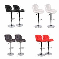 Set of 2, 360 Degree Swivel Adjustable Bar Stools, Modern Faux Leather Padded