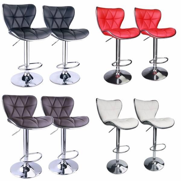 Tremendous Shop Set Of 2 Shell Back Adjustable Swivel Bar Stools Pu Machost Co Dining Chair Design Ideas Machostcouk