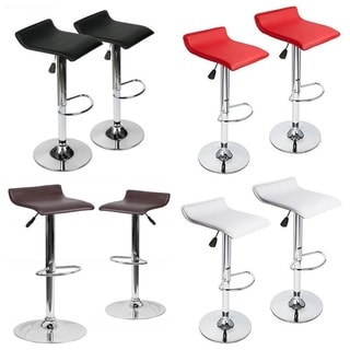 Set of 2 Contemporary Faux Leather Adjustable Height Bar stool with Chrome Base