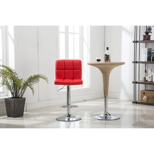 360 Degree Swivel Adjustable Leatherette Counter Bar Stools Set of 2 Red