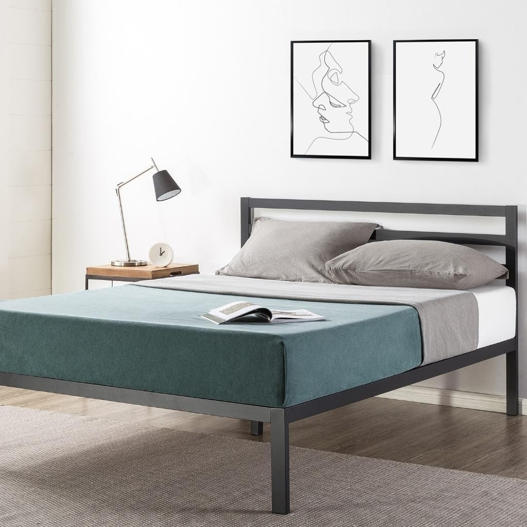 14 Inch Metal Platform Bed With Headboard Wooden Slat Support Mattress Foundation No Box Spring Needed Crown Comfort