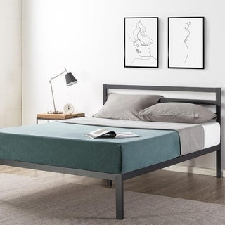 14 inch Metal Platform Bed with Headboard/Wooden Slat Support/Mattress Foundation (No Box Spring Needed) - Crown Comfort