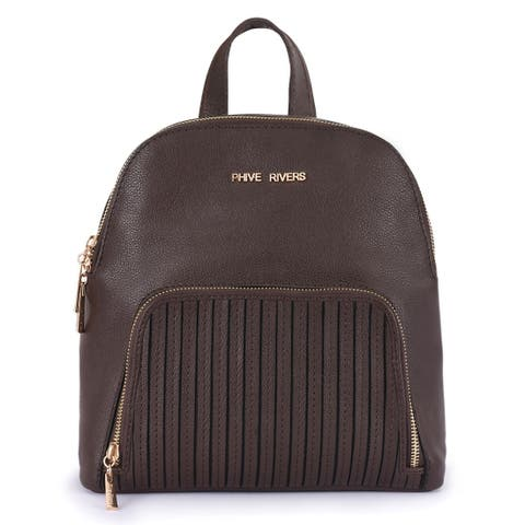 Handmade Phive Rivers Women's Leather Brown Backpack - One Size