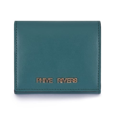 Handmade Phive Rivers Women's Green Leather Wallet - Small