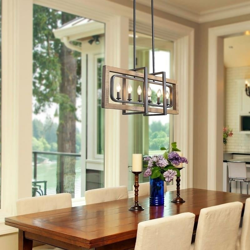 6 Lights Wood Chandelier Farmhouse Kitchen Island Lighting For Dining Room W31 5 X E8 7 H13 8