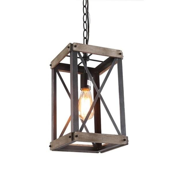 shop 1-light foyer rustic wood pendant light - free