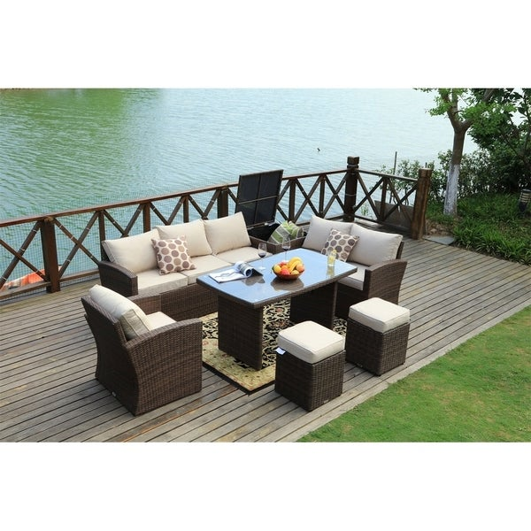 Shop 7-Piece Outdoor Sofa Set Wicker Patio Sectional ...