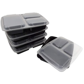 Table To Go 20-Pack Bento Lunch Boxes with Lids (3 Compartment/ 36 oz) , Freezer Safe Meal Prep Containers , (Black) - Black