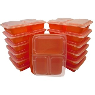 Table To Go 20-Pack Bento Lunch Boxes with Lids (3 Compartment/ 36 oz) , Freezer Safe Meal Prep Containers , (Orange) - Orange