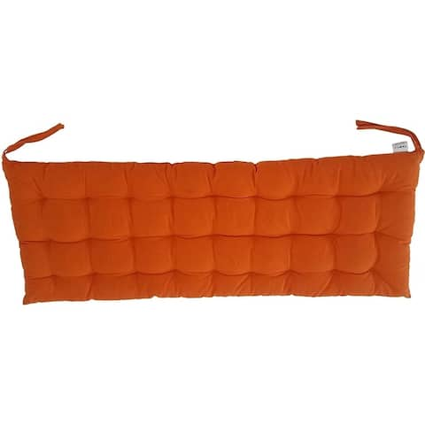 """Cottone 100% Cotton Chair Pads w/Ties 40"""" x 16"""" Bench Cushion Ergonomic Pillows for Rocking, Dining, Orange"""