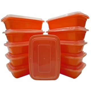 Table To Go 20-Pack Bento Lunch Boxes with Lids (1 Compartment/ 34 oz) , Freezer Safe Meal Prep Containers , (Orange) - Orange
