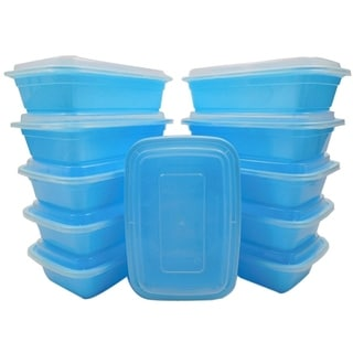 Table To Go 20-Pack Bento Lunch Boxes with Lids (1 Compartment/ 34 oz) , Freezer Safe Meal Prep Containers , (Blue) - Blue
