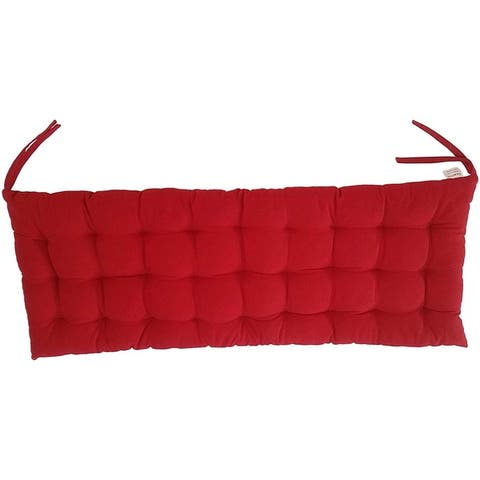 """Cottone 100% Cotton Chair Pads w/Ties 40"""" x 16"""" Bench Cushion Ergonomic Pillows for Rocking, Dining, Camping, Red"""