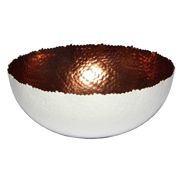 Melange Home Decor Cuivre Collection, 9-inch Bowl, Color - White