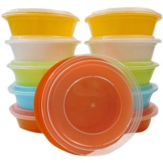 TTG 20-Pack Round Bento Lunch Boxes with Lids (24 oz) , Freezer Safe Meal Prep Containers , (Multicolor Pack) - Multi