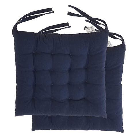 """Cottone 100% Cotton Chair Pads w/Ties (Set of 2) 16"""" x 15"""" Square Ergonomic Pillows for Rocking, Dining, Camping, Blue"""