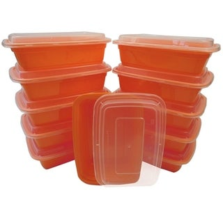 Table To Go 20-Pack Bento Lunch Boxes with Lids (2 Compartment/ 32 oz) , Freezer Safe Meal Prep Containers , (Orange) - Orange