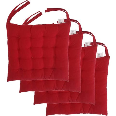 """Cottone 100% Cotton Chair Pads w/Ties (Set of 2) 16"""" x 15"""" Square Ergonomic Pillows for Rocking, Dining, Camping, Red"""