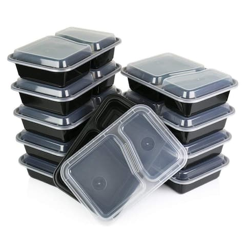Table to Go 20-Pack Bento Lunch Boxes with Lids (2 Compartment/ 32 oz), Freezer Safe Meal Prep Containers , (Black) - Black