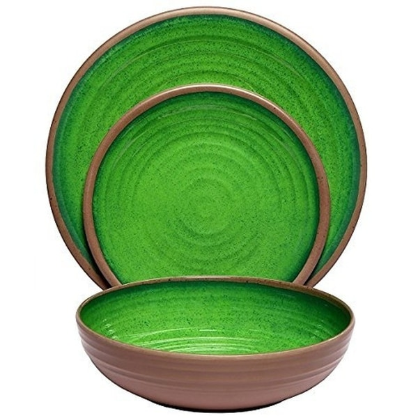 Melange 54-Piece Melamine Dinnerware Set (Clay Collection) Color: Green | Dinner Plate, Salad Plate & Soup Bowl (18 Each)