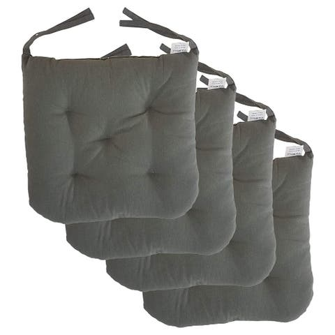 """Cottone 100% Cotton Chair Pads w/Ties (Set of 4) 16"""" x 15"""" Square Round Ergonomic Pillows for Rocking, Camping, Grey"""