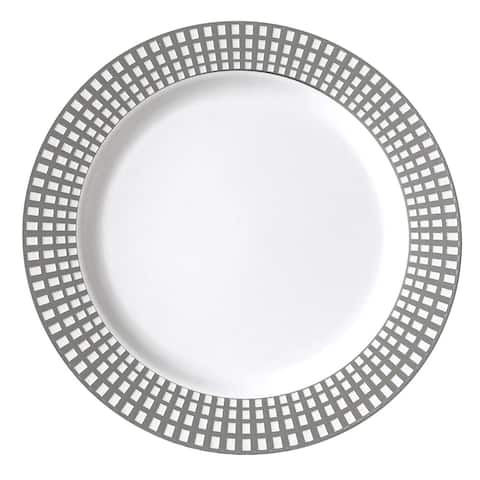 Table To Go I Can't Believe it's Plastic 50-Piece Plastic Salad Plate Set , Venice Collection , (Silver Ivory)