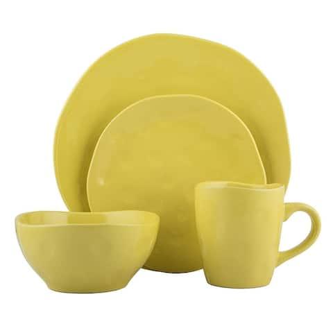 Melange Stoneware 32-Piece Irregular Shape Dinnerware Set (Yellow)