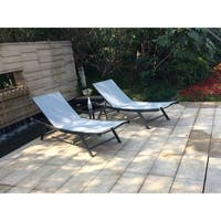 3-Piece Outdoor Sun Lounger Set Adjustable Chaise by Moda Furnishings