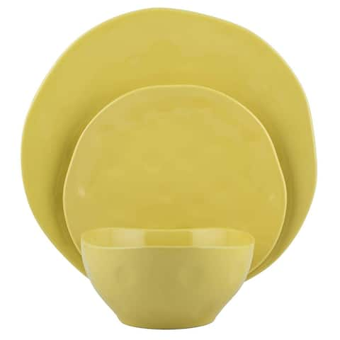 Melange Stoneware 18-Piece Irregular Shape Dinnerware Set (Yellow) 6 Dinner Plate, Salad Plate & Soup Bowl (6 Each)