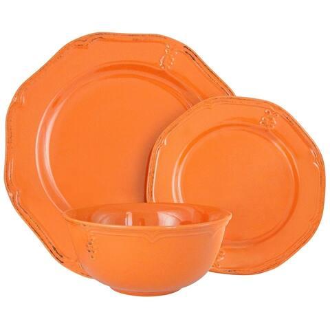 Melange Stoneware 36-Piece Dinnerware Set (Antique Orange)