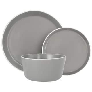 Melange Stoneware 18-Piece Dinnerware Set (Moderno Grey) Service for 6 Dinner Plate, Salad Plate & Soup Bowl (6 Each)