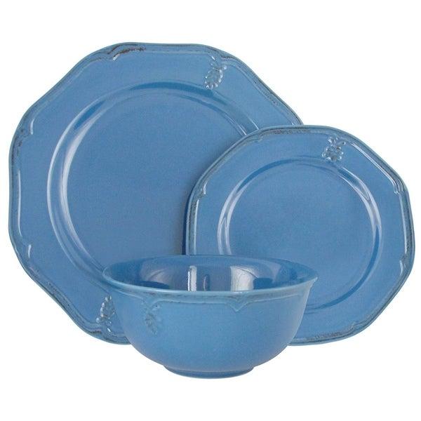 Melange Stoneware 18-Piece Dinnerware Set (Antique Blue) | Service for 6 Dinner Plate, Salad Plate & Soup Bowl (6 Each). Opens flyout.