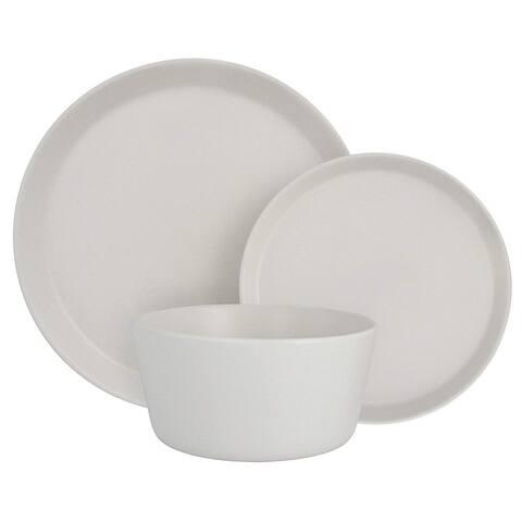 Melange Stoneware 18-Piece Dinnerware Set (Moderno White) Service for 6 Dinner Plate, Salad Plate & Soup Bowl (6 Each)