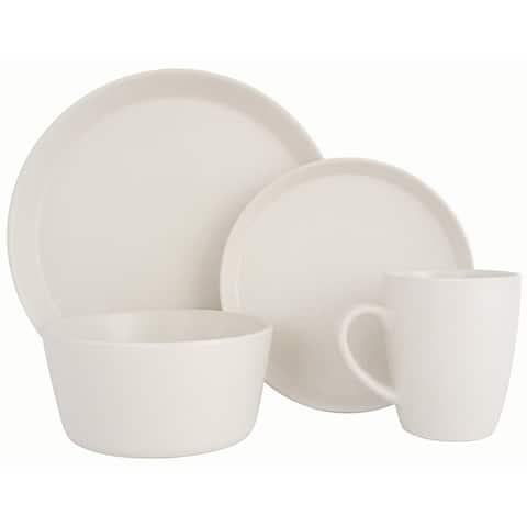 Melange Stoneware 16-Piece Dinnerware Set (Moderno White) Service for 4 Dinner Plate, Salad Plate, Soup Bowl & Mug (4 Each)