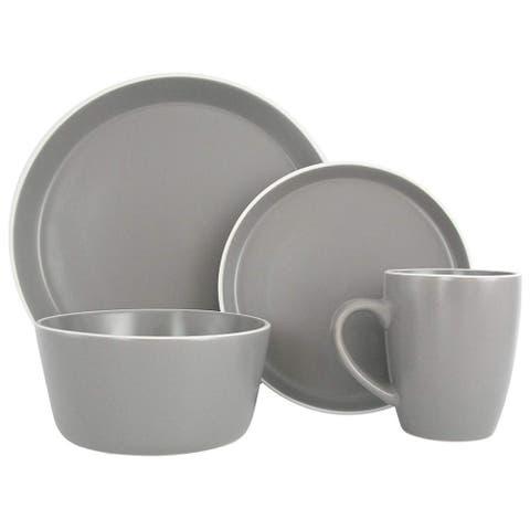 Melange Stoneware 16-Piece Dinnerware Set (Moderno Grey) Service for 4 Dinner Plate, Salad Plate, Soup Bowl & Mug (4 Each)