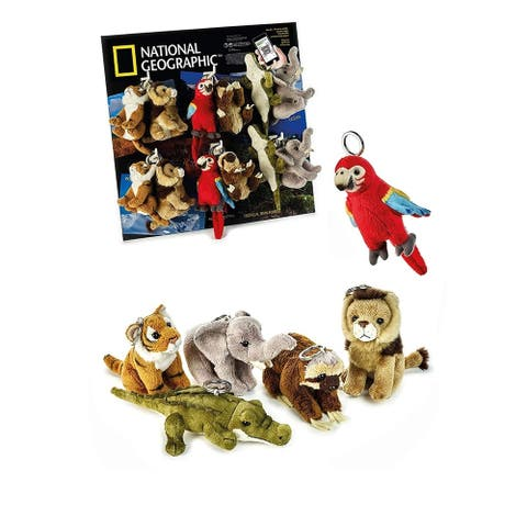 """National Geographic 6 Piece Wild Animals with Keychain (4"""") Plush Set - Elephant, Alligator, Tiger, Lion, Sloth, Red Parrot"""
