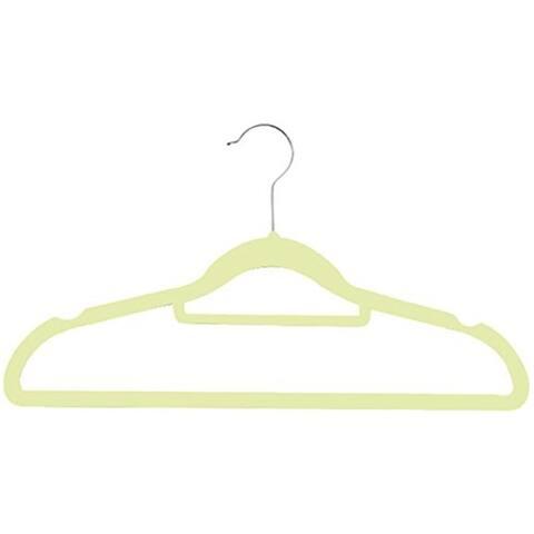 Zen Closet Ultra Thin Heavy Duty No Slip Velvet Suit Hangers with Tie bar, 50 Pack, Beige