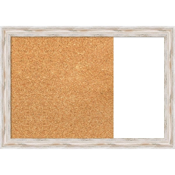 Alexandria White Wash Wood Framed Cork/White Dry Erase Combo Board