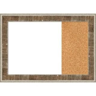 Farmhouse Brown Narrow Wood Framed White Dry Erase/Cork Combo Board