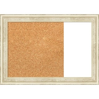 Country White Wash Wood Framed Cork/White Dry Erase Combo Board