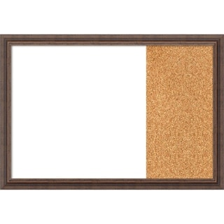 Distressed Rustic Brown Wood Framed White Dry Erase/Cork Combo Board