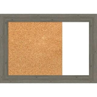 Fencepost Grey Narrow Wood Framed Cork/White Dry Erase Combo Board